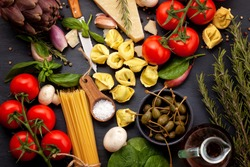 Fresh organic ingridients of italian recipes. Healthy food concept