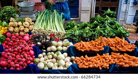 Fresh Organic Lemon, spinach, celery root, Lettuce, beet, radish, turnip, Mint, Carrot, and Leek At A Street Market In Istanbul, Turkey.