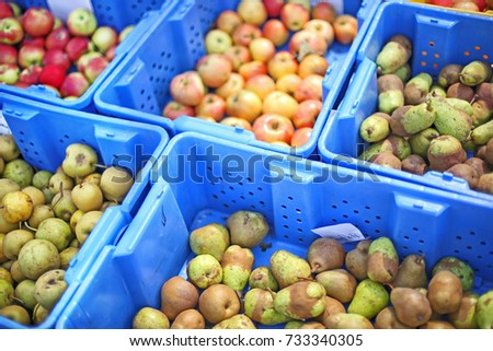 Stock Photo Fresh Organic Pears and Apples at Farmers Market Produce Stand in Blue Crates