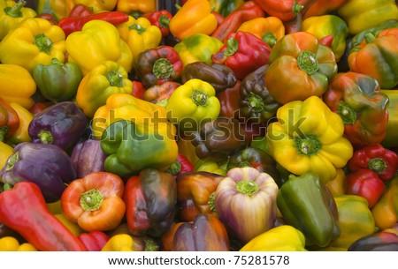 Fresh organic peppers background
