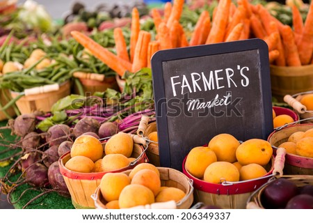 Fresh organic produce on sale at the local farmers market.