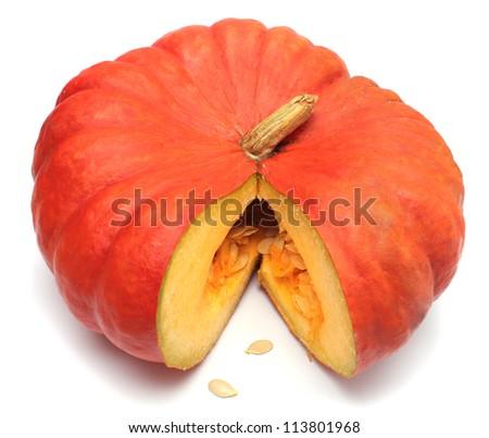 Fresh organic pumpkin on white background