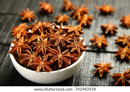 Fresh organic Star anise spice fruits and seeds  #742983928