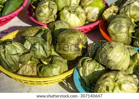 Fresh organic tomatillos in colorful plastic baskets for sale at local farmers market