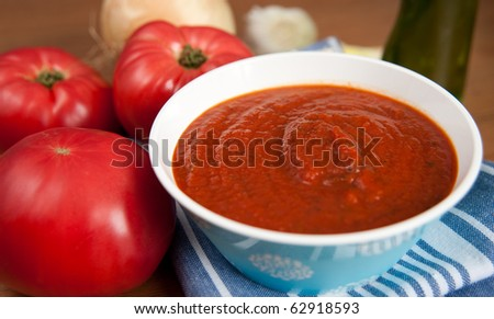Fresh Organic Tomato Sauce and Red Tomatoes