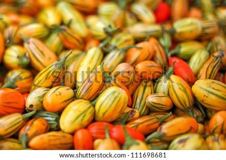 Fresh organic tomatoes at farmers market