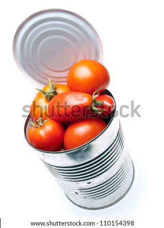 Fresh organic tomatoes in the can on a white background.