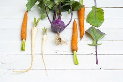 fresh organic turnip cabbage and carrots on white wood table background