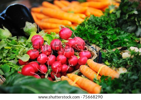 fresh organic vegetables eco food on market - stock photo