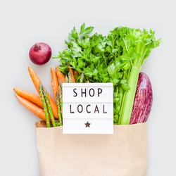 Fresh organic vegetables in eco craft paper shopping bag with text Shop Local on lightbox flat lay, top view with copy space on gray background. Sustainable lifestyle. Zero waste plastic free concept.
