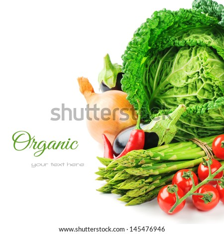 Fresh organic vegetables isolated over white