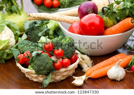 Fresh organic vegetables on the table