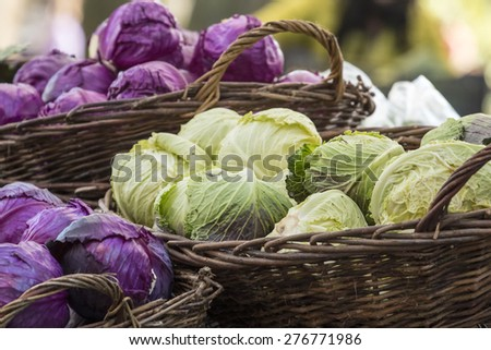 Fresh organic vegetables - Pile of green and purple cabbages in baskets at farmer\'s market