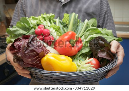 fresh organic vegetables ready for cooking - mans hands closeup holding a vegetable basket freshly harvested tasty vegetables for vegetarian or vegan diet - concept of organic farming and healthy food - Shutterstock ID 334911029