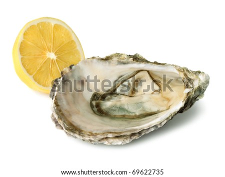 Fresh oyster and half of lemon