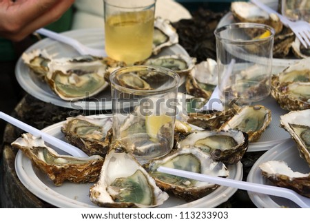 Fresh oysters and white wine on french market