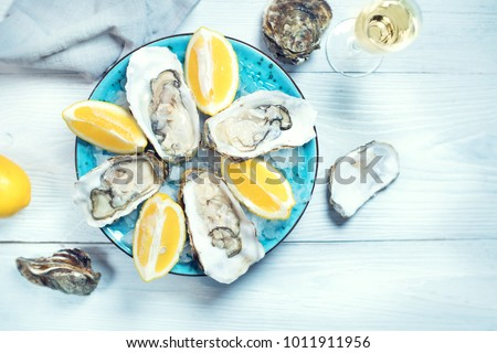 Fresh Oysters close-up on blue plate, served table with oysters, lemon and ice. Table top view. Healthy sea food. Fresh raw Oyster dinner in restaurant. Gourmet food. #1011911956