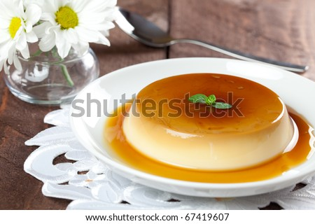 fresh panna cotta on plate