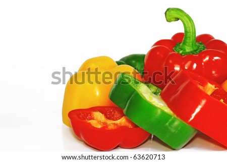 fresh paprika isolated on white with clipping path