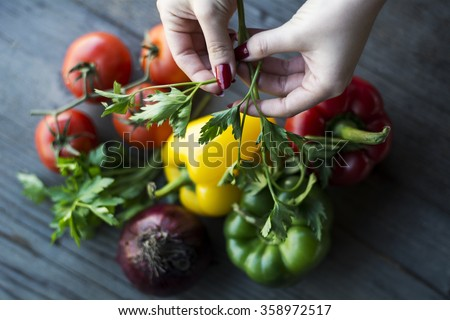 Fresh parsley and other vegetables  - Shutterstock ID 358972517