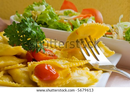 fresh pasta ravioli filled with ham and cheese