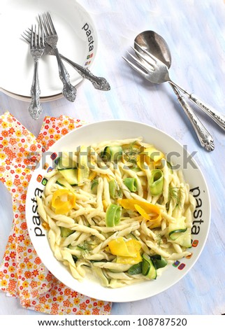 Fresh pasta with summer squashes