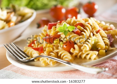 fresh pasta with tomato sauce close up