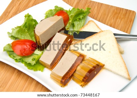 fresh pate with tomatoes and salad