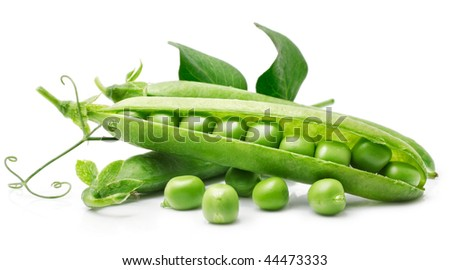 fresh pea in the pod with green leaves isolated on white background