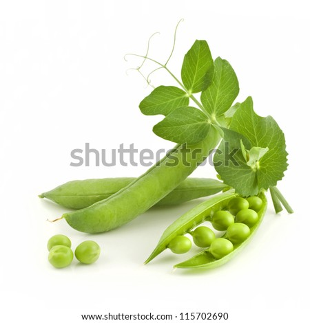 fresh pea with green leaf isolated on white background