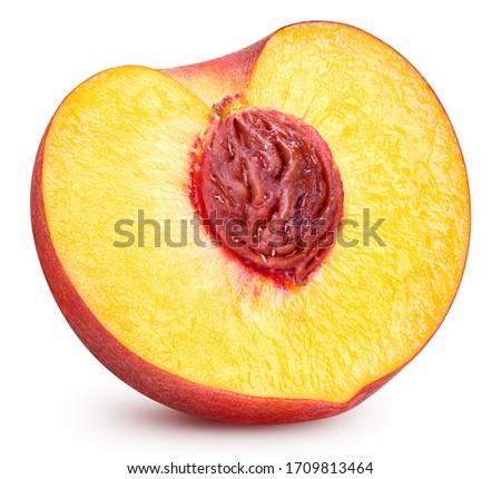 Fresh peach fruits and half. Peach half isolated on white. Isolated on white background. Peach Clipping Path. Full depth of field