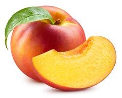 Fresh peach leaf isolated on white. Organic peach. Peach clipping path. Full depth of field