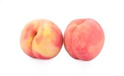 Fresh peach on white background
