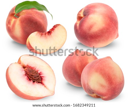 Fresh Peach on White Background With clipping path, Collection of Peach fruit isolated on white background,