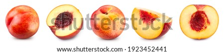 Fresh peach. Peach collection isolated. Peach isolated on white. Full depth of field Сток-фото ©
