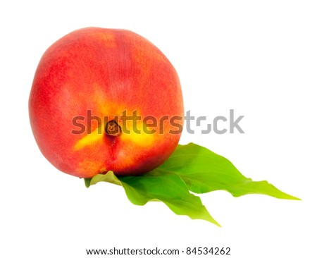 fresh peach with green leaves isolated on white background