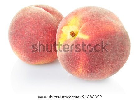 Fresh peaches isolated on white, clipping path included