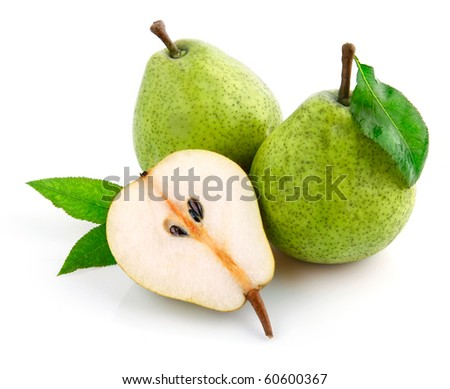 fresh pear fruits with cut and green leaves isolated on white background