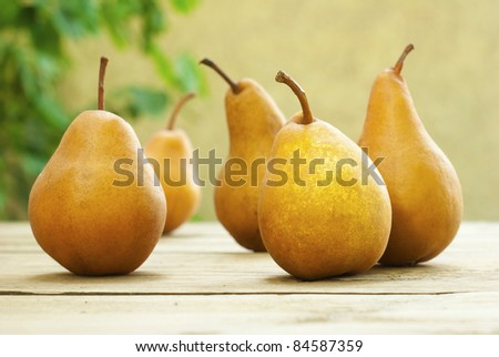 fresh pears on old wooden table - stock photo