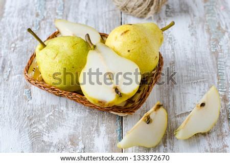 Fresh pears,  Selective focus - stock photo