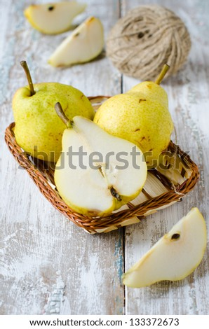 Fresh pears, 		 Selective focus