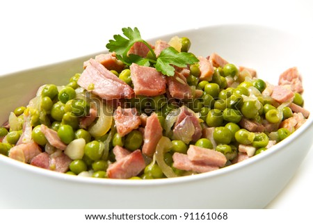 fresh peas with diced ham