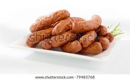 Fresh peasant sausage on a plate