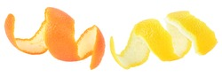 Fresh peel of lemon and orange fruit isolated on a white background. Citrus zest spiral.