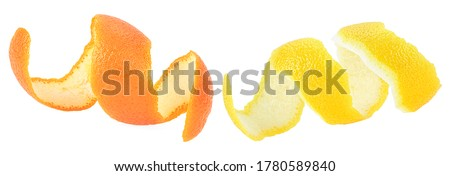 Photo of  Fresh peel of lemon and orange fruit isolated on a white background. Citrus zest spiral.