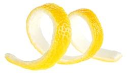 Fresh peel of lemon fruit isolated on a white background. Lemon twist.