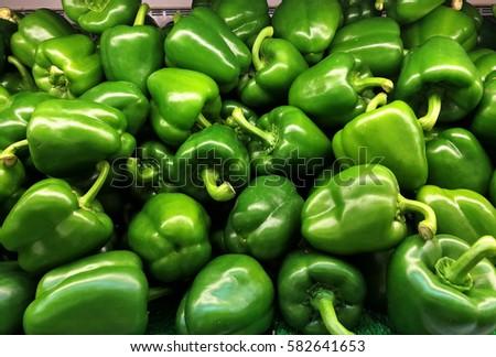 fresh pepper at vegetable  market ストックフォト ©