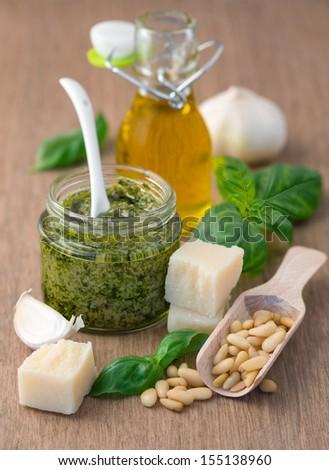 Fresh pesto with basil