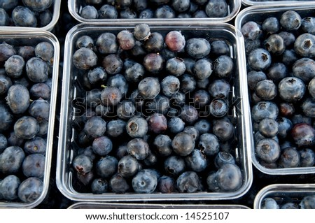 Fresh picked blueberries at local farm market - stock photo