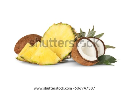 Fresh pineapple and coconuts on white background #606947387